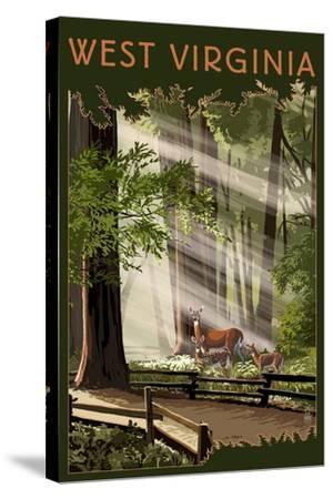 West Virginia - Deer and Fawns-Lantern Press-Stretched Canvas Print