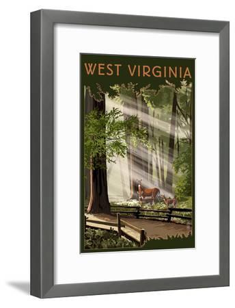 West Virginia - Deer and Fawns-Lantern Press-Framed Art Print