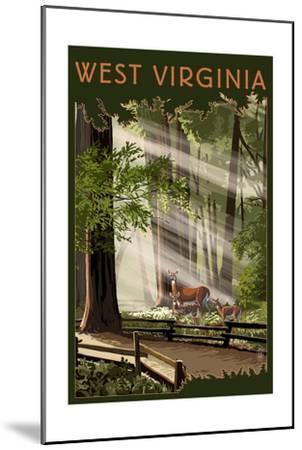 West Virginia - Deer and Fawns-Lantern Press-Mounted Art Print