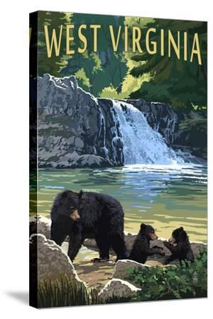 West Virginia - Waterfall and Bears-Lantern Press-Stretched Canvas Print