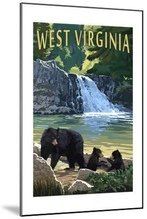 West Virginia - Waterfall and Bears-Lantern Press-Mounted Art Print