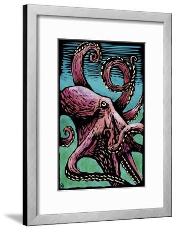 Octopus - Scratchboard-Lantern Press-Framed Art Print