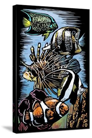 Tropical Fish - Scratchboard-Lantern Press-Stretched Canvas Print