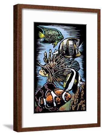 Tropical Fish - Scratchboard-Lantern Press-Framed Art Print