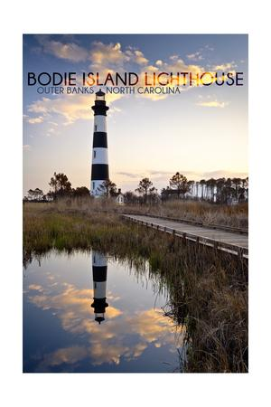 Bodie Island Lighthouse - Outer Banks, North Carolina-Lantern Press-Framed Art Print