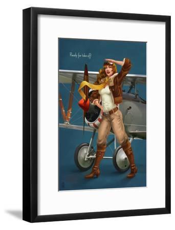 Pinup Girl Aviator - Ready for Take Off!-Lantern Press-Framed Art Print