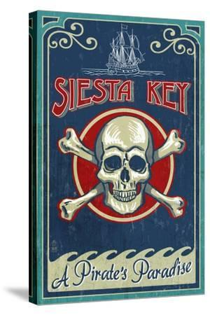 Siesta Key, Florida - Skull and Crossbones - Vintage Sign-Lantern Press-Stretched Canvas Print