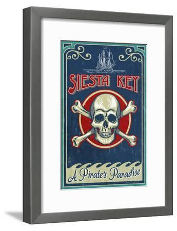 Siesta Key, Florida - Skull and Crossbones - Vintage Sign-Lantern Press-Framed Art Print