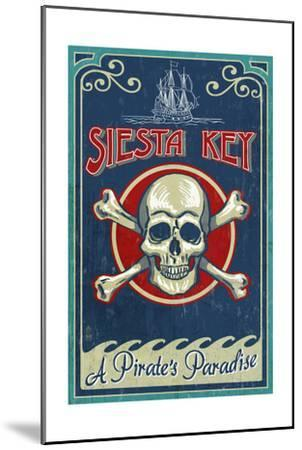 Siesta Key, Florida - Skull and Crossbones - Vintage Sign-Lantern Press-Mounted Art Print