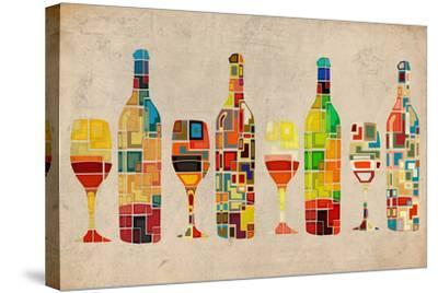 Wine Bottle and Glass Group Geometric-Lantern Press-Stretched Canvas Print