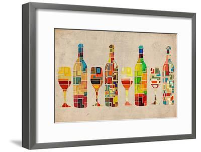 Wine Bottle and Glass Group Geometric-Lantern Press-Framed Premium Giclee Print