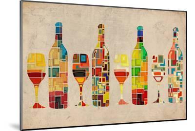 Wine Bottle and Glass Group Geometric-Lantern Press-Mounted Premium Giclee Print
