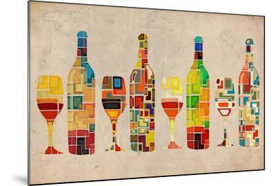 Wine Bottle and Glass Group Geometric-Lantern Press-Mounted Art Print