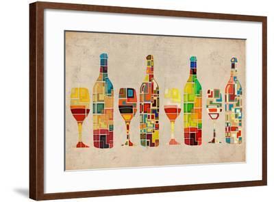 Wine Bottle and Glass Group Geometric-Lantern Press-Framed Art Print