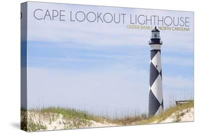 Cape Lookout Lighthouse - Outer Banks, North Carolina-Lantern Press-Stretched Canvas Print