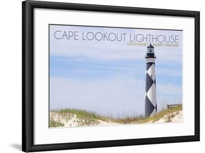 Cape Lookout Lighthouse - Outer Banks, North Carolina-Lantern Press-Framed Art Print