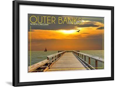 Outer Banks, North Carolina - Ocean and Sunset-Lantern Press-Framed Art Print