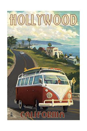 Hollywood, California - VW Van Coastal-Lantern Press-Framed Art Print