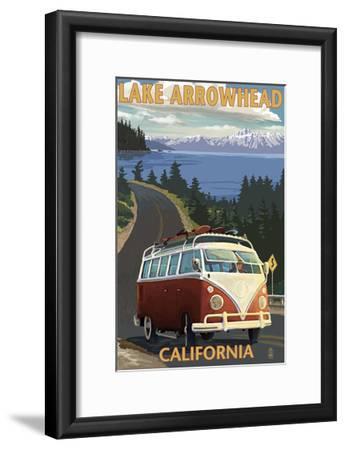 Lake Arrowhead - California - VW Van Coastal-Lantern Press-Framed Art Print