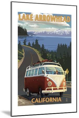 Lake Arrowhead - California - VW Van Coastal-Lantern Press-Mounted Art Print