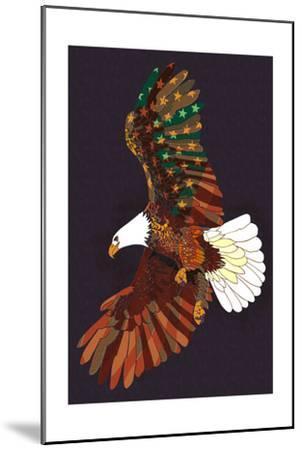 Americana - Soaring Eagle-Lantern Press-Mounted Art Print