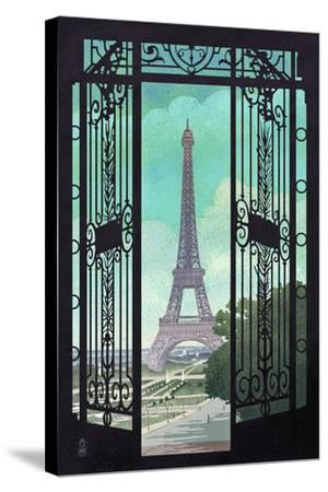 Paris, France - Eiffel Tower and Gate Lithograph Style-Lantern Press-Stretched Canvas Print