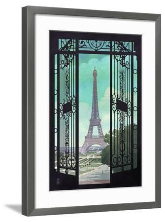 Paris, France - Eiffel Tower and Gate Lithograph Style-Lantern Press-Framed Art Print