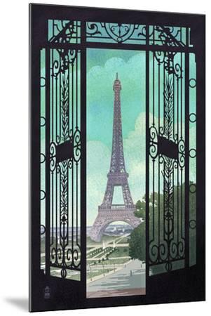 Paris, France - Eiffel Tower and Gate Lithograph Style-Lantern Press-Mounted Art Print