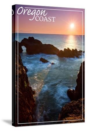 Oregon Coast - Rocky Cove and Sunset-Lantern Press-Stretched Canvas Print