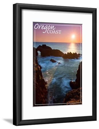 Oregon Coast - Rocky Cove and Sunset-Lantern Press-Framed Art Print