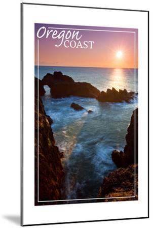 Oregon Coast - Rocky Cove and Sunset-Lantern Press-Mounted Art Print