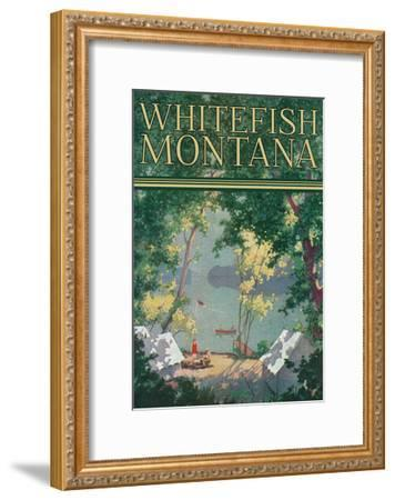 Whitefish, Montana - Scenic View of a Campground by a Lake - Poster-Lantern Press-Framed Art Print