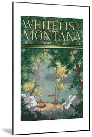 Whitefish, Montana - Scenic View of a Campground by a Lake - Poster-Lantern Press-Mounted Art Print