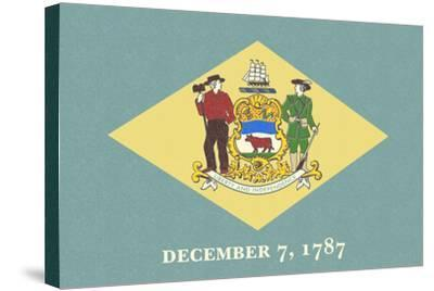 Delaware State Flag-Lantern Press-Stretched Canvas Print