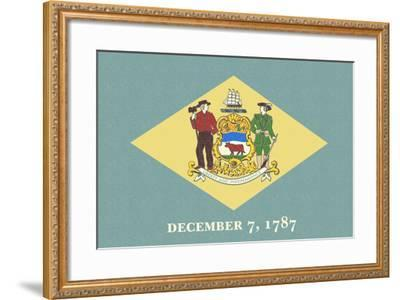 Delaware State Flag-Lantern Press-Framed Art Print