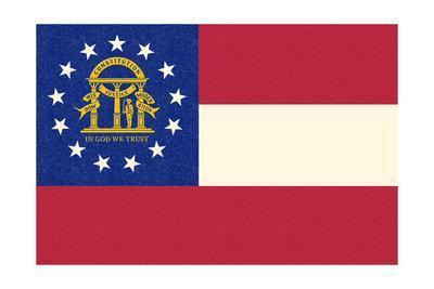 Georgia State Flag-Lantern Press-Framed Art Print
