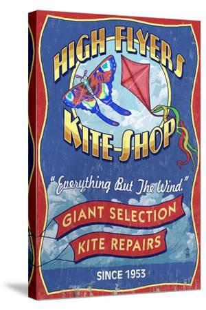 Kite Shop - Vintage Sign-Lantern Press-Stretched Canvas Print