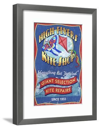 Kite Shop - Vintage Sign-Lantern Press-Framed Art Print