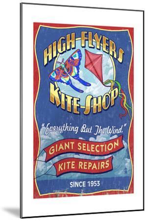 Kite Shop - Vintage Sign-Lantern Press-Mounted Art Print