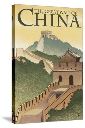 Great Wall of China - Lithograph Style-Lantern Press-Stretched Canvas Print