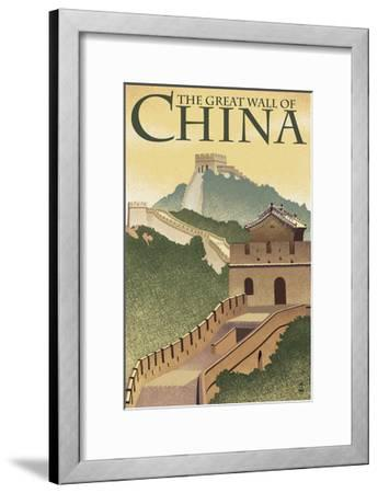 Great Wall of China - Lithograph Style-Lantern Press-Framed Art Print
