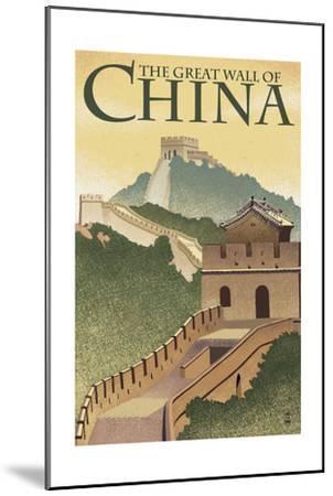 Great Wall of China - Lithograph Style-Lantern Press-Mounted Art Print