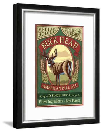 White Tailed Deer Ale - Vintage Sign-Lantern Press-Framed Art Print