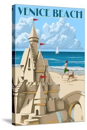 Venice Beach, California - Sandcastle-Lantern Press-Stretched Canvas Print
