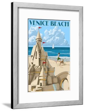 Venice Beach, California - Sandcastle-Lantern Press-Framed Art Print