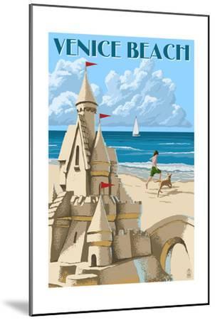 Venice Beach, California - Sandcastle-Lantern Press-Mounted Art Print