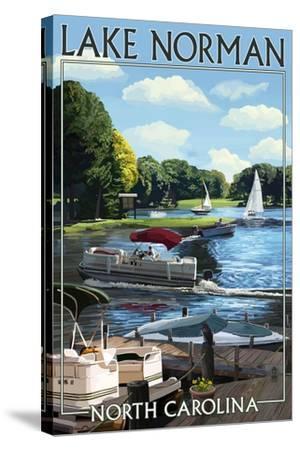 Lake Norman, North Carolina - Boating Scene-Lantern Press-Stretched Canvas Print