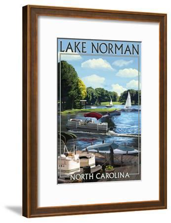 Lake Norman, North Carolina - Boating Scene-Lantern Press-Framed Art Print