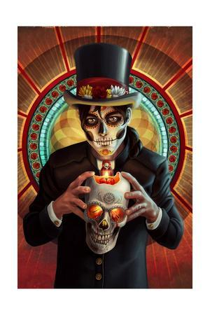 Day of the Dead - Man and Candle-Lantern Press-Framed Art Print