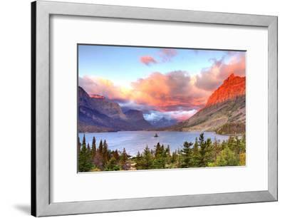 Glacier National Park, Montana - St. Mary Lake and Sunset-Lantern Press-Framed Art Print